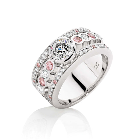 Iconic Pink & White Diamond Dress Ring