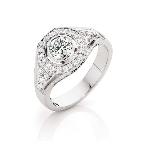 Wide Band Round Diamond Cluster Ring
