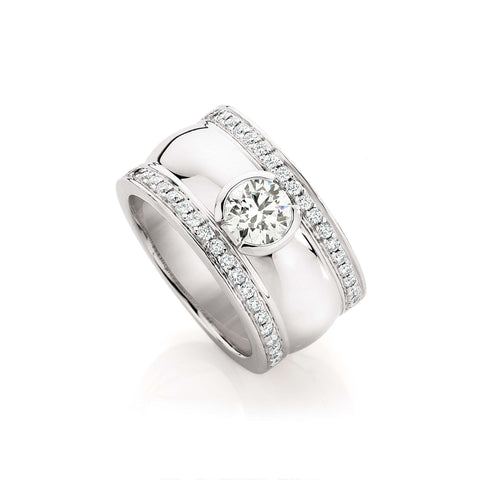 Wide Bezel Diamond Dress Ring