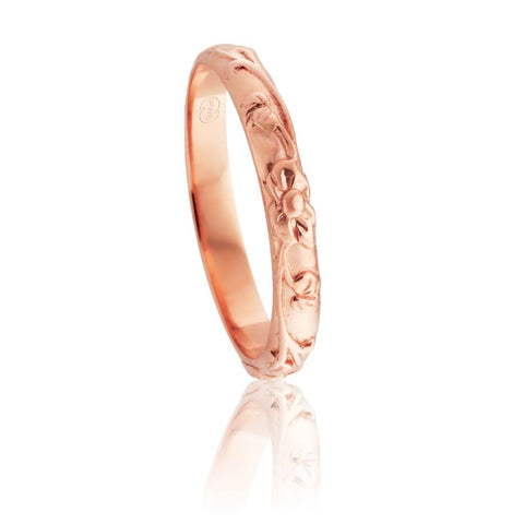 9ct Rose Gold Relief Pattern Ring