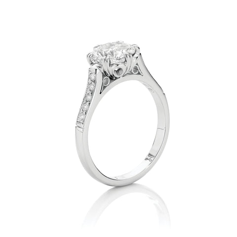 Round Brilliant Cut Double Claw Vintage Style Engagement Ring