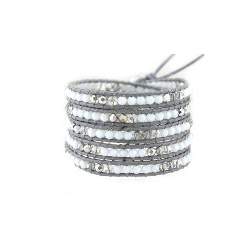 Leather Wrap Crystal Bracelet in Grey
