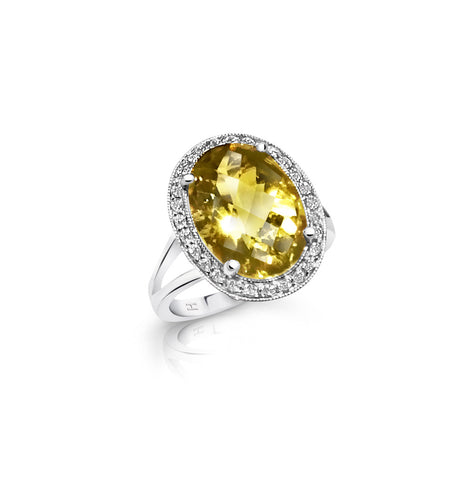 Lemon Quartz and Diamond Halo Dress Ring