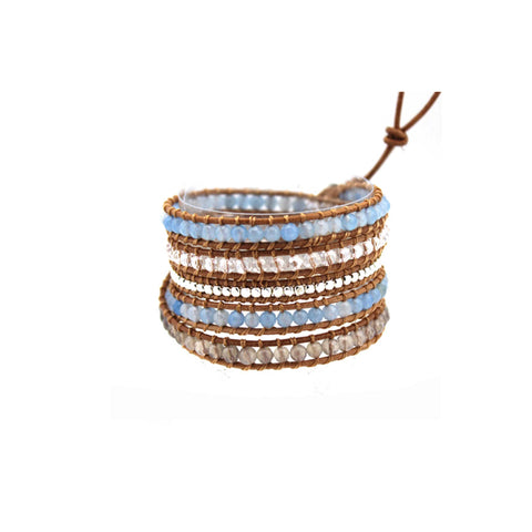 Marine Crystals Leather Wrap Bracelet in Tan