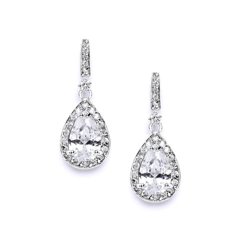 Pear shaped bridal earrings