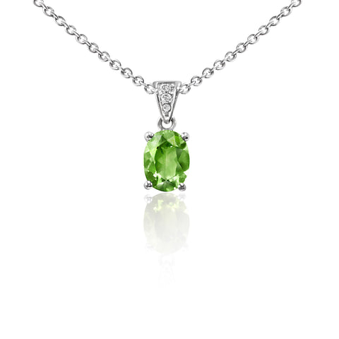 Oval Peridot and Diamond Necklace