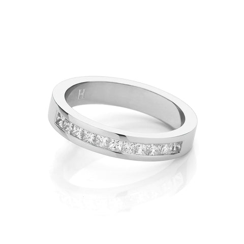 Channel Set Princess Cut Wedding Ring