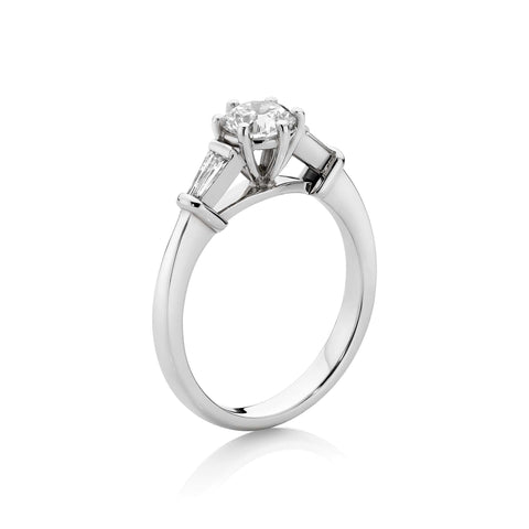 Round Brilliant Cut & Tapered Baguette Diamond Ring