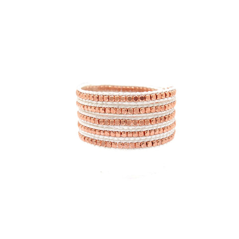 Rose Gold Bead Leather Wrap Bracelet in White