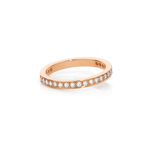 18ct Rose Gold Grainset Diamond Wedding Band