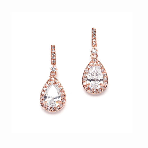 Rose Gold Plated Cubic Zirconia Earrings