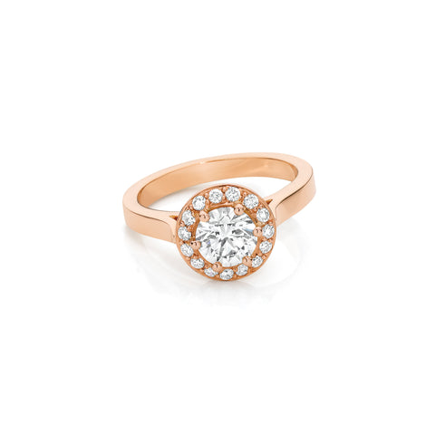 Rose Gold Round Brilliant Diamond Halo Engagement Ring