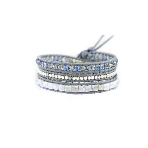 Silver Storm Crystal Leather Wrap Bracelet in Grey