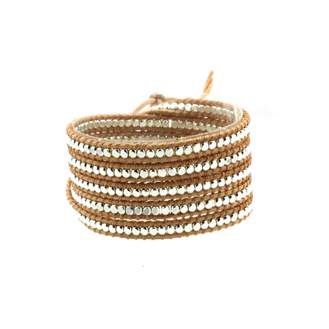 Tan leather multi nugget wrap bracelet