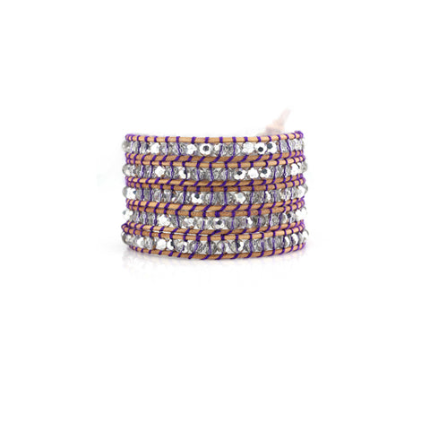 Tan silver bead multi wrap bracelet