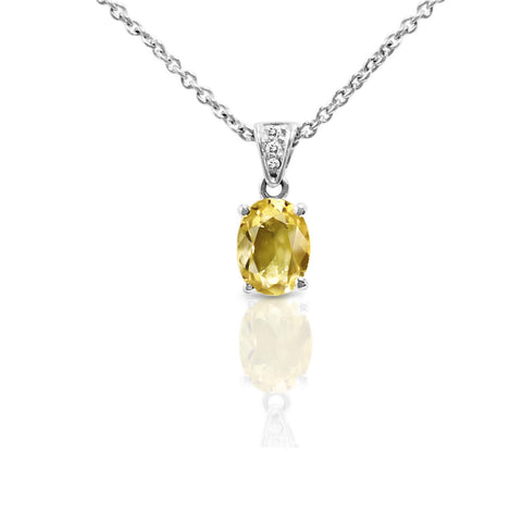 Oval Yellow Beryl and Diamond Necklace