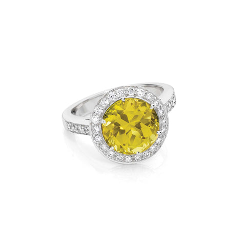 Yellow Sapphire & Diamond Halo Cluster Ring