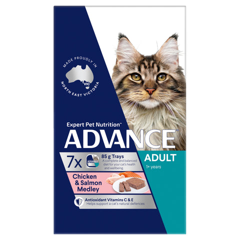 ADVANCE Adult Wet Cat Food Chicken & Salmon Medley
