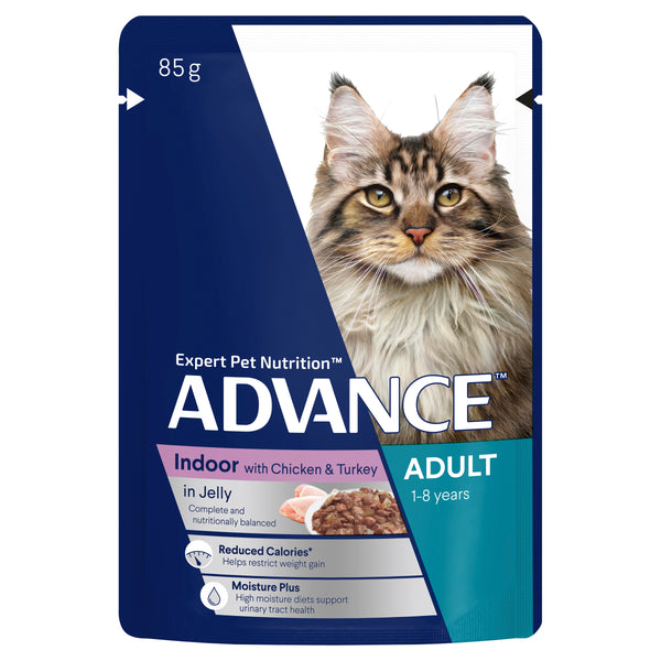 ADVANCE Indoor Adult Wet Cat Food Chicken & Turkey In Jelly Pouches