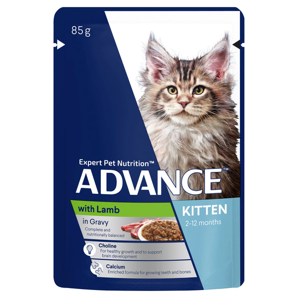 ADVANCE Kitten Wet Cat Food Lamb In Gravy Pouches