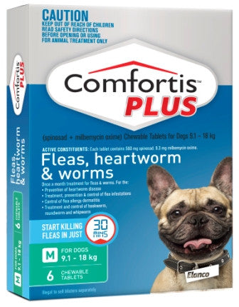 Comfortis Plus - Medium Dogs 9.1 -18kg (Green) previously Panoramis