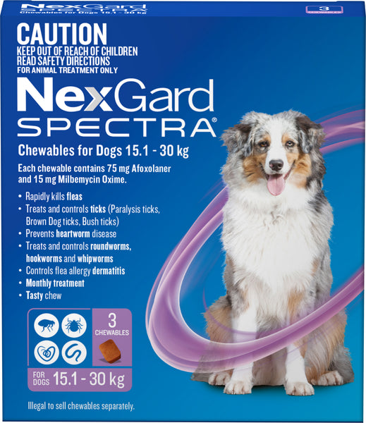 Nexgard Spectra - Nexgard Spectra Chews Large Dogs 15.1-30kg (PURPLE)