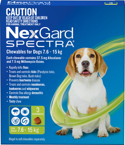 Nexgard Spectra - Nexgard Spectra Chews Medium Dogs 7.6-15kg (GREEN)