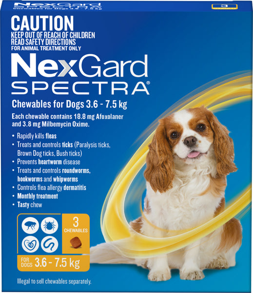 Nexgard Spectra - Nexgard Spectra Chews Small Dogs 3.6-7.5kg (YELLOW)