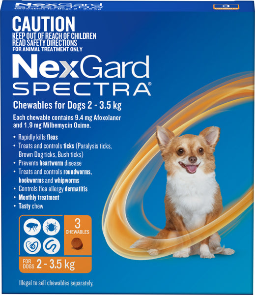 Nexgard Spectra - Nexgard Spectra Chews Extra Small Dogs 2-3.5kg (ORANGE)
