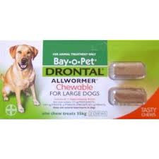 Drontal Dog - Drontal Dog Allwormer Chewable 35kg - Large Breed Dogs
