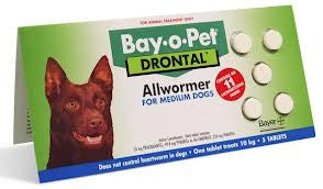 Drontal Dog - Drontal Dog Allwormer 10Kg - Medium Breed Dogs (NON-CHEWABLE)