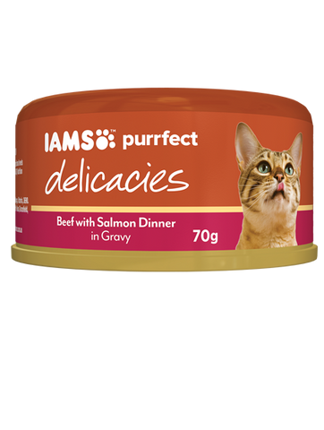 IAMS Cat -  Adult Purrfect Delicacies Cans, Beef with Salmon