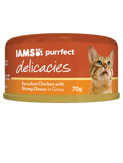 IAMS Cat -  Adult Purrfect Delicacies Cans, Succulent Chicken with Shrimp