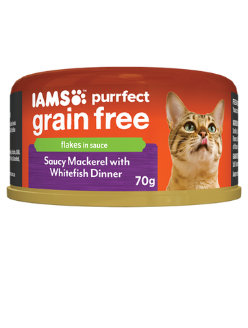 IAMS Cat -  Adult Purrfect GrainFree Cans, Saucy Mackerel with WhiteFish