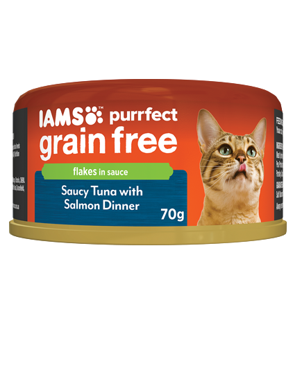IAMS Cat -  Adult Purrfect GrainFree Cans, Saucy Tuna with Salmon