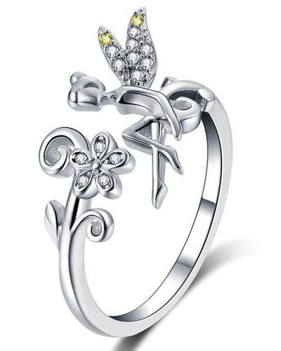 Sterling Silver Fairy & Daisy Resizable Ring