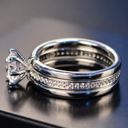 Luxury Female White Bridal Wedding Ring Set