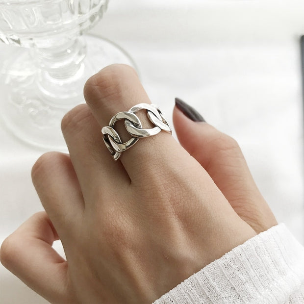 Sterling Silver Wide Chain Resizable Ring