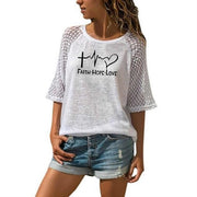 Faith Hope Love Print T-Shirt