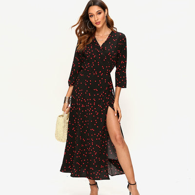 Boho Style Polka Dot Long Dress