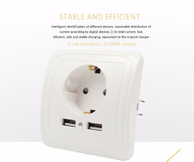 Dual USB Port Wall Charger Adapter