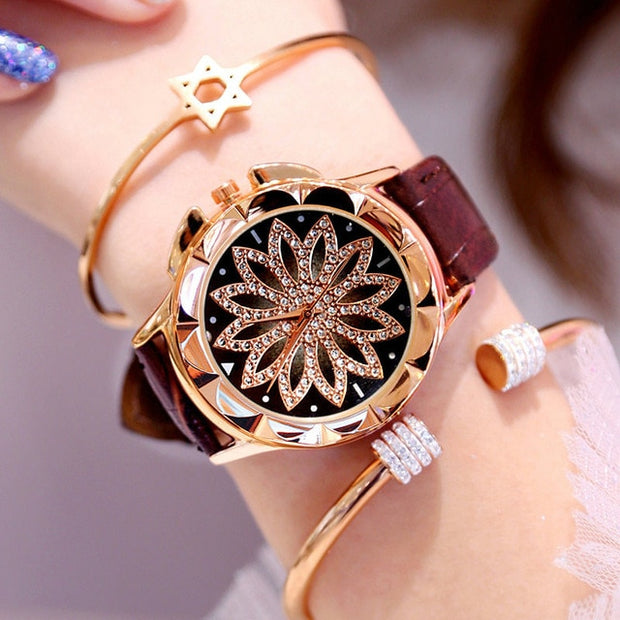 Women's Luxury Diamonds Rose Gold Wrist Watch