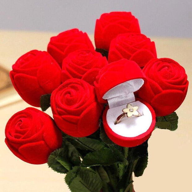 Romantic Engagement Proposal Rose Ring Case