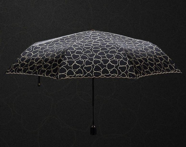 Luxury Heart Motif Scallop-Edged Umbrella