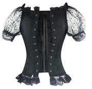Lolita Black Casual Lace-Up Puff Sleeve Corset