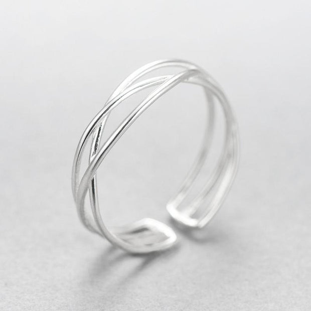 Women's Sterling Silver Adjustable Weave Ring
