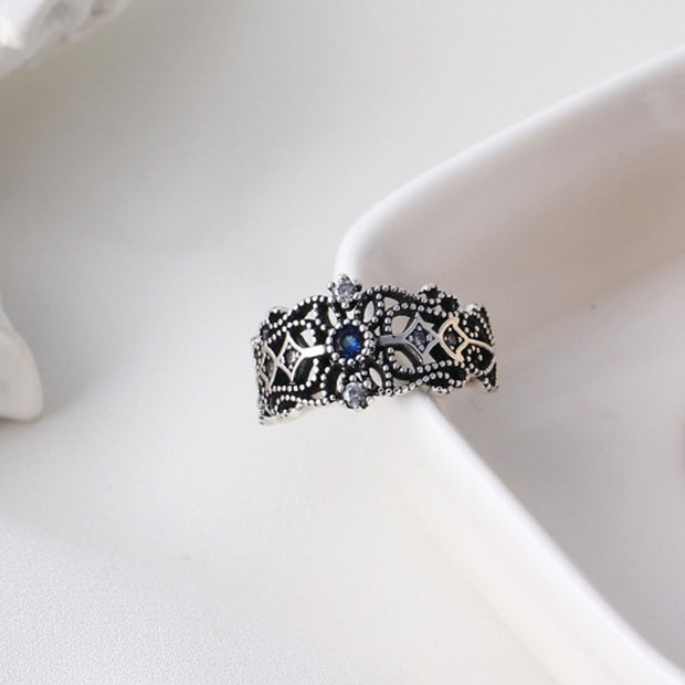 Vintage sapphire zircon 925 sterling silver ring for women
