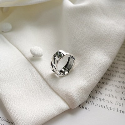 Adjustable Sterling Silver Chain Ring