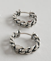 Women's Fashion Sterling Silver Vintage Chain Hoop Earrings
