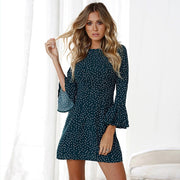 Vintage Polka Dot Flared-Sleeve Mini Dress